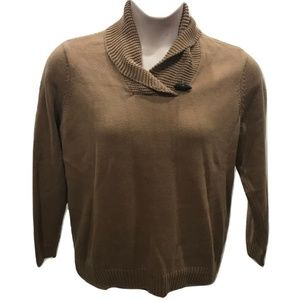 Chaps Size 1X Brown Sweater Pullover Plus Size